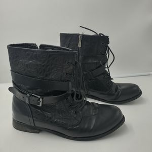 Torrid Combat Boots Faux Leather Rose Tulle Sz 10W